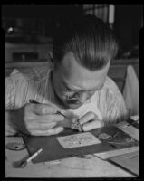 G. R. Bradshaw works with precious gems, Los Angeles, 1936