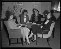 Four women sit at a table playing cards, Pasadena, 1936