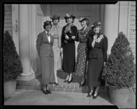 Five socialites pose on the front step of a house, Pasadena, 1936