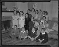 Birthday party of Norma Hill with her sisters Esperanza and Dolores, her parents Ricardo and Esperanza Pasquila, and several guests, Hollywood, 1936