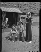 Debutantes Pat Richards, Dorothy Walsh, and Janet Hubbard at the beach, Los Angeles, 1936