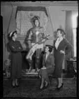 "Theater troupe members Peggy Duccommon, Harriet Calder, Mrs. Harry Slater, and Elizabeth Finch Abrams prepare for ""Snow White and the Seven Dwarfs,"" Los Angeles, 1936"