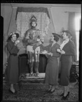 "Assistance League Nine O'clock Players Peggy Duccommon, Harriet Calder, Mrs. Harry Slater and Elizabeth Finch Abrams prepare for a performance of ""Snow White and the Seven Dwarfs"", Los Angeles, 1936"