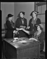 Dr. Katherine Green, Virginia B. Walther, Frances R. Knox, and Myrtle Bozwell discuss potential vocations with high schoolers, Los Angeles, 1936