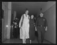 Mabel Guilliams, Hazel Glab, and Lt. Ted Bruce at Glab's conviction, Los Angeles, 1936