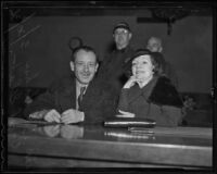 S. S. Hahn and Hazel Glab at Glab's final trial, Los Angeles, 1936