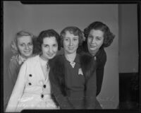 Lilith Bennett, Hylda Sampson, Ruth Connoly and Marjorie Wright on a Los Angeles Times tour, Los Angeles, 1936