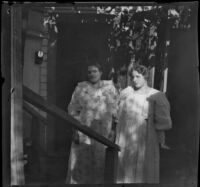 Two prostitutes in front of the cribs on Alameda Street, Los Angeles, 1896