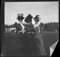 Daisy Conner and the Bendixon sisters pose together possibly in Lincoln (Eastlake) Park, Los Angeles, about 1900