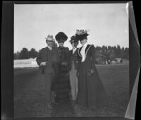 H. H. West poses with the Bendixon sisters and another girl possibly in Lincoln (Eastlake) Park, Los Angeles, about 1900