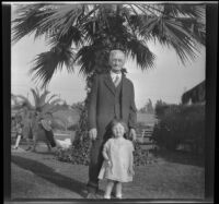 Abraham Whitaker and his great-granddaughter, Shirleyana Shaw in Alhambra Park, Alhambra, about 1930
