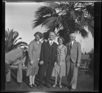 Abraham Whitaker and his children pose in Alhambra Park, Alhambra, about 1930
