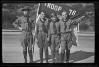 H. H. West Jr., Bob Wilcutt, George Temm, and another boy pose in their Boy Scouts uniforms in Griffith Park, Los Angeles, about 1932