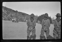 """Boy Scouts watch the filming of a trailer for the movie, """"Kit Carson,"""" in Griffith Park, Los Angeles, about 1932"""