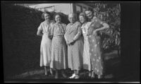 Maud West, Maude West, Nella West, Mertie West, and Eleanor West pose together in the West's yard, Los Angeles, 1934