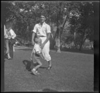 Wright Prickett plays with Richard Shaw in Victory Park, Los Angeles, 1931