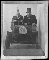 H. H. West and Dick Taylor in a miniature car at a Shriner's conclave, Los Angeles, 1907