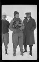 Mertie West, Josie Shaw, William Shaw stand in the snow at Mint Canyon, Santa Clarita vicinity, 1933