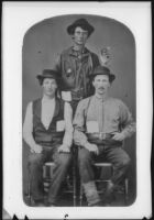 """Robert Cascade Hutchinson, Franklin Pierce Ground and """"Anderson,"""" who traveled with the Butler Train jouirney to Oregon, photograph copied 1937"""