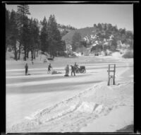 Tractor clearing the snow off of Jackson Lake, Big Pines vicinity, 1934
