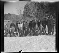Boy Scout Troop 76 poses for a group photograph before leaving for home, Big Pines vicinity, winter 1934