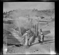 Minnie West, Mary A. West, Elizabeth West and Frances West visit Casa Diablo Hot Springs, Mammoth Lakes vicinity, 1915