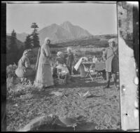 Mary West, Minnie West, Bessie Velzy, Frances West and Elizabeth West around their camp near Convict Lake, Mammoth Lakes vicinity, 1914