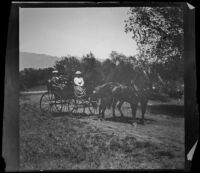 Nella West, Chas Rucher and Louise Ambrose travel by carriage on a trip to Devils Gate, Pasadena vicinity, 1899