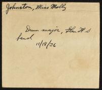 Handwritten description of photograph of Molly Johnston, 1936