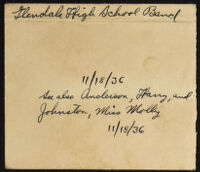 Handwritten description of photograph of Glendale High School Marching Band, 1936