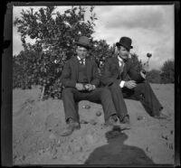 A man named Davis and Will Mead sit in a citrus grove, Glendale, 1898