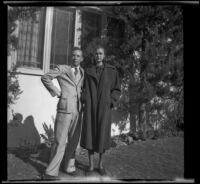 H. H. West, Jr. and Jane Sage pose on the front lawn of the Siemsen residence, Glendale, 1938