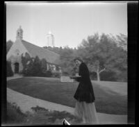 Woman walks up to the Wee Kirk o' the Heather for the Wedding of Sam Longstreet and Cosette Pohle, Glendale, 1939