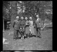 Forrest Whitaker, Agnes Whitaker, Mertie West, Josie Shaw and H. H. West pose outside Tahquitz Lodge, Idyllwild, [circa 1942]