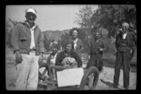 Mrs. Noe poses with fellow patients and visitors at the Independent Order of Foresters Sanatorium, San Fernando vicinity, 1936