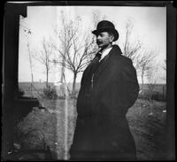 Will Mead poses at the Mead farm in winter, Red Oak, about 1902