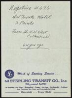 Note describing negative series 676 of Monterey, 1962