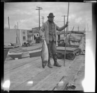 H. H. West posing with a sea bass caught by another fisherman, Newport Beach, 1914