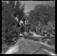 Mertie West, William Shaw, Agnes Whitaker, H. H. West Jr., and Forrest Whitaker at Pine Creek, Inyo Couny vicinity, about 1930