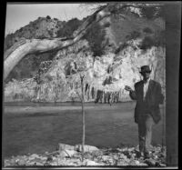 Mills Helen posing with a string of fish, Los Padres National Forest vicinity, about 1917