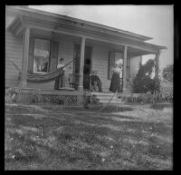 Zella Jones and her parents on their front porch, Red Bluff, 1898