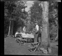 Abraham Whitaker stands by a tree while Edith Shaw, Mertie West and Agnes Whitaker stand by a table at their campsite, Modoc County, 1929