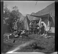 Group at their campsite near Rush Creek, Mono County vicinity, 1929