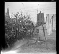 Clothing and gear airing out in the West's back yard, [Los Angeles], 1941