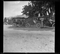 A. B. Schmitz's Moon and H. H. West's Buick parked in front of old Freeman Station in Dove Springs, Kern County, 1914
