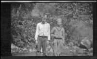 H. H. West, Jr. and another boy posing for a photograph, San Dimas, about 1929
