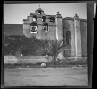 Campanile and bells of San Gabriel Mission, viewed from the south, San Gabriel, about 1896