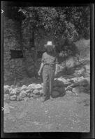 H. H. West posing in a cowboy hat, San Gabriel Mountains, 1941