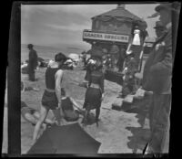 People on the beach and by the camera obscura, Santa Monica, about 1895