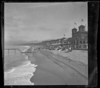 North Beach Bath House with the beach, ocean, and mountains surrounding it, Santa Monica, about 1895